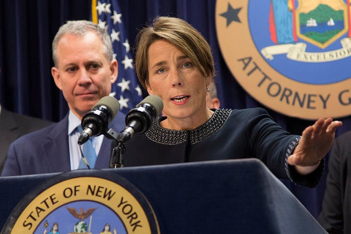 Massachusetts Attorney General Maura Healey and New York Attorney General Eric Schneiderman want ExxonMobil to disclose more information about the risks of climate change.