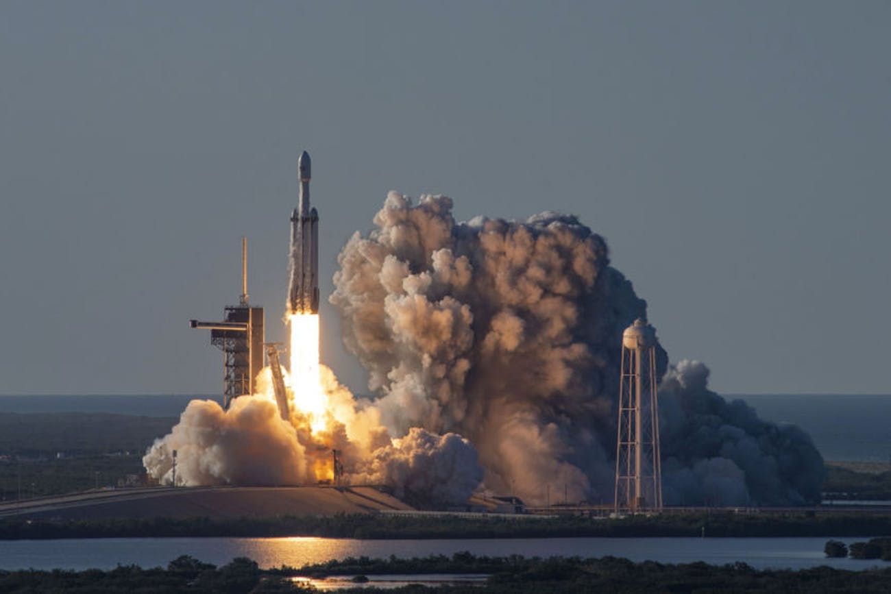 SpaceX's Falcon Heavy rocket lifts off in April 2019, this time carrying the Arabsat-6A communications satellite.
