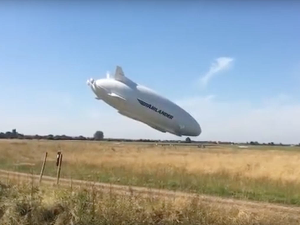The Airlander 10 takes a nose-butt-dive into a field in England.