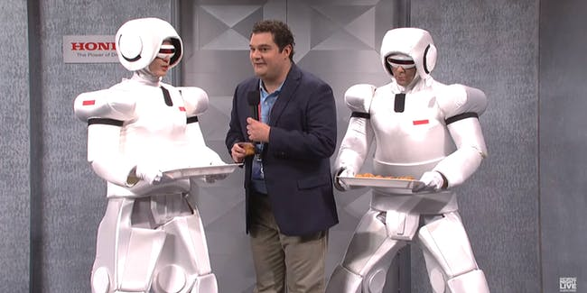 Humanoid robots malfunction on this week's SNL.