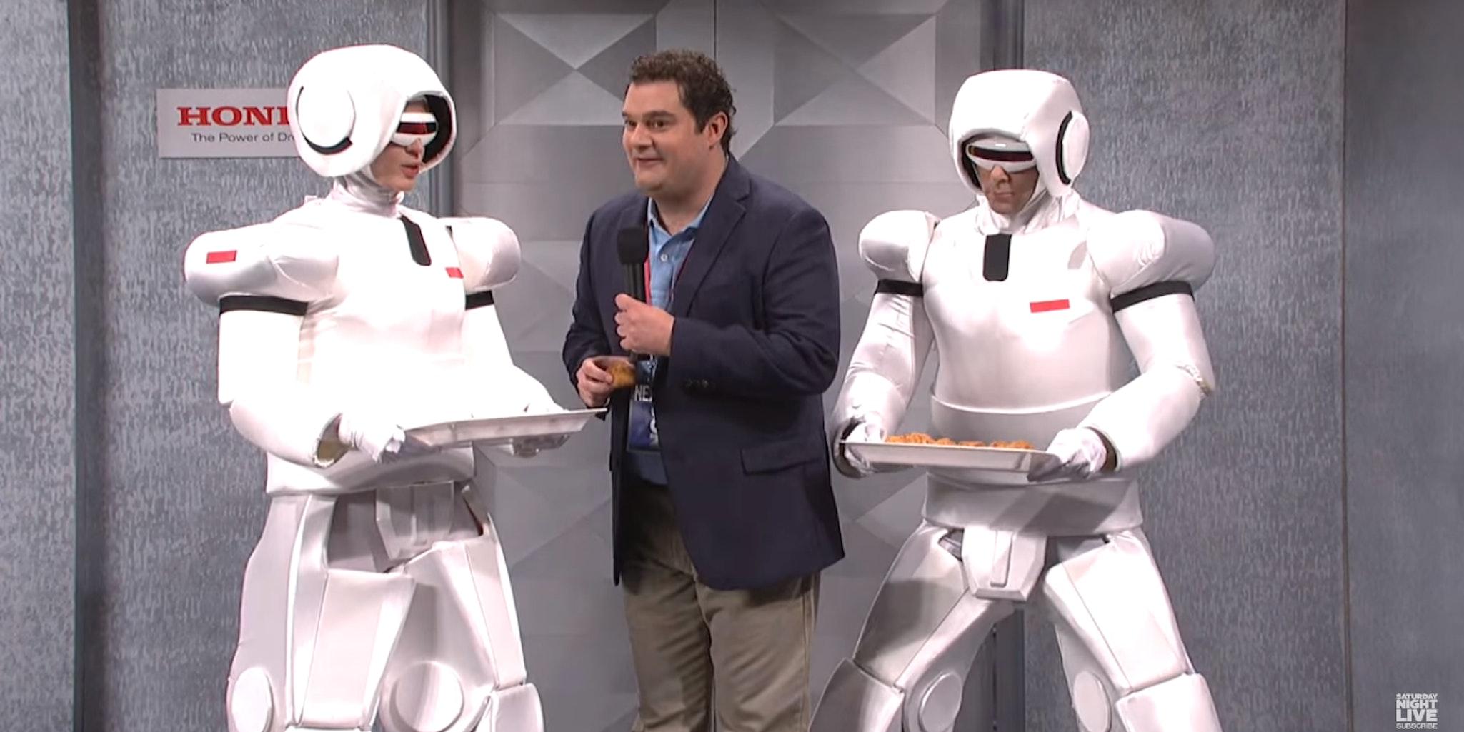 Humanoid robots malfunction on this week's SNL.