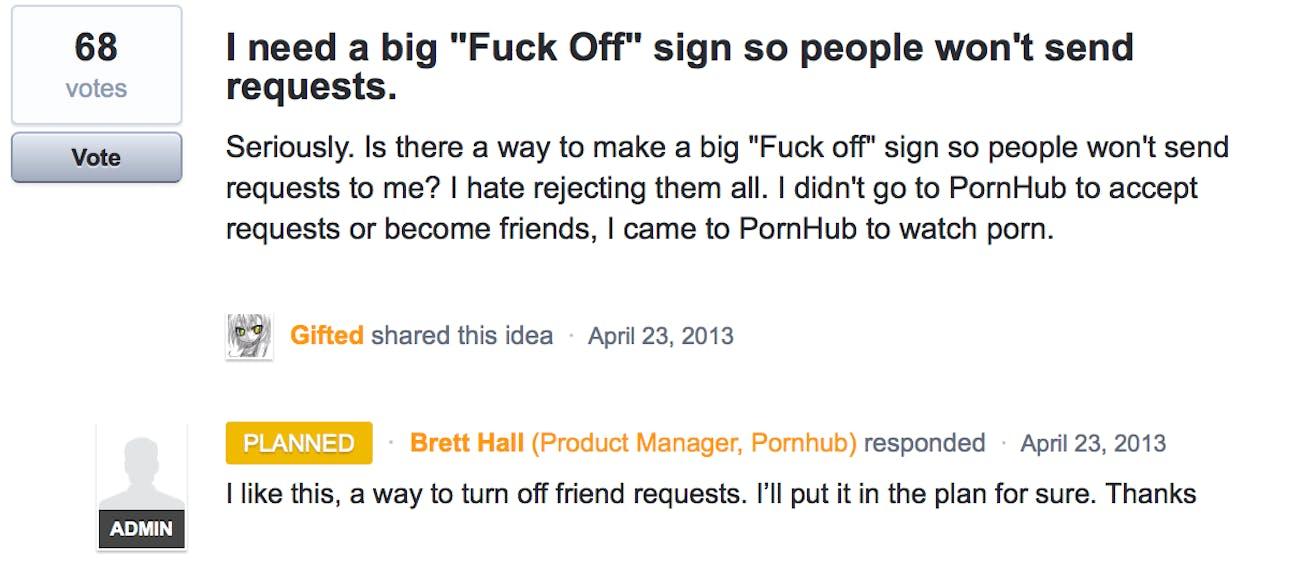 Pornhub feedback forum