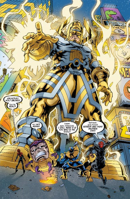 Galactus plays a prominent role, scaring away M.O.D.O.K., Thanos, and the Red Skull before Spider-Man has to take them down.