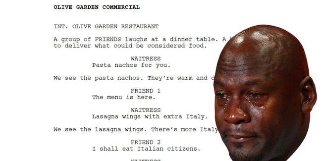 Olive Garden commercial meme