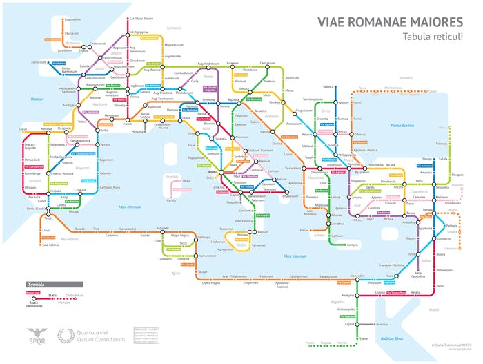 Roman Empire subway map visualization