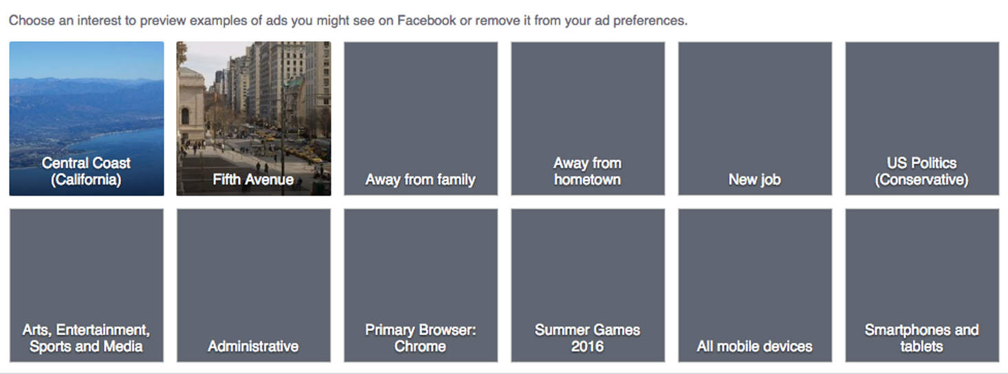 My obscure Facebook classifications.