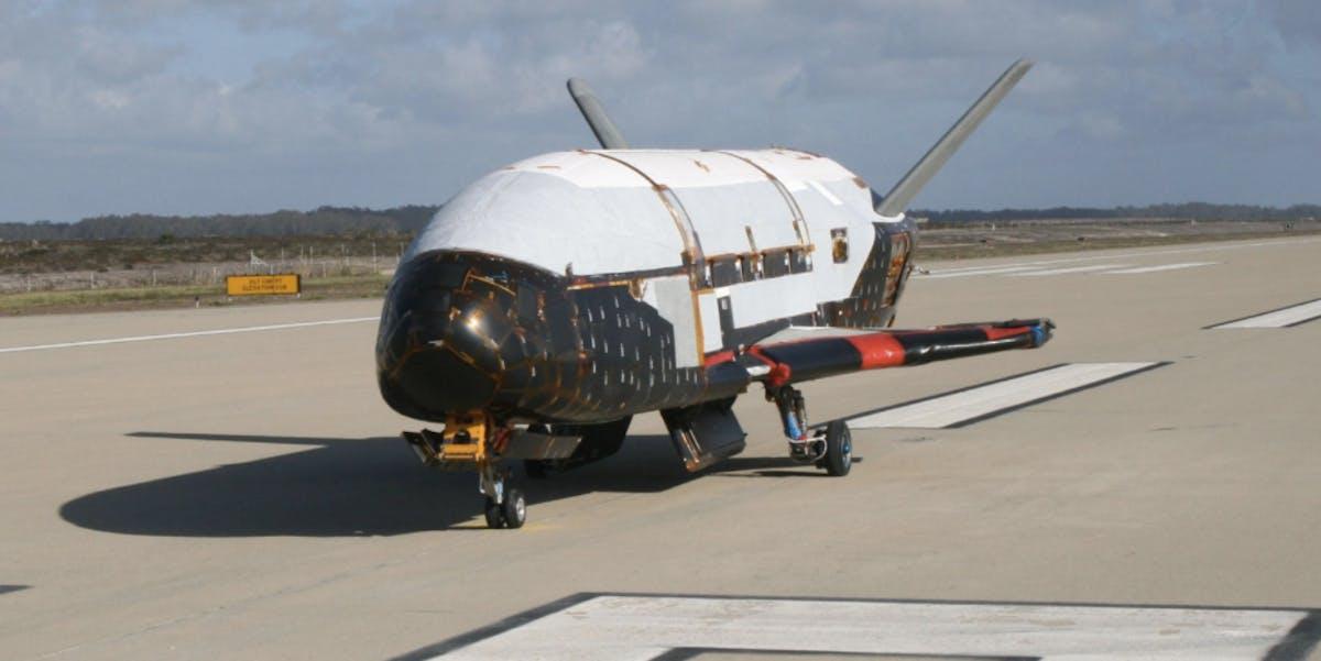 The X-37B Orbital Test Vehicle at Vandenberg Air Force Base, California, in June 2009.