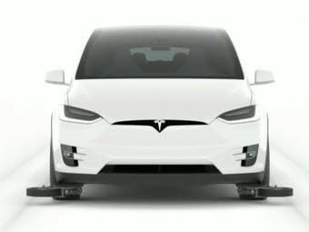 Tesla Model X with guide wheels.