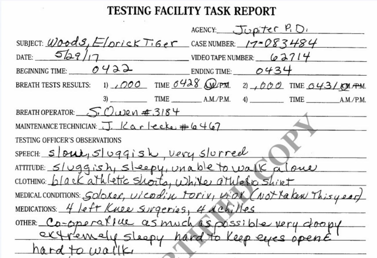 tiger woods arrest report