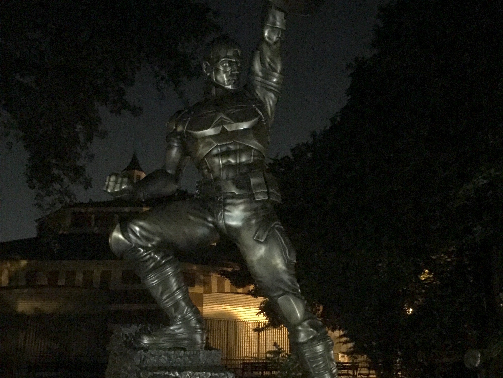 Why is Captain America Hanging in a Brooklyn Park at Night?