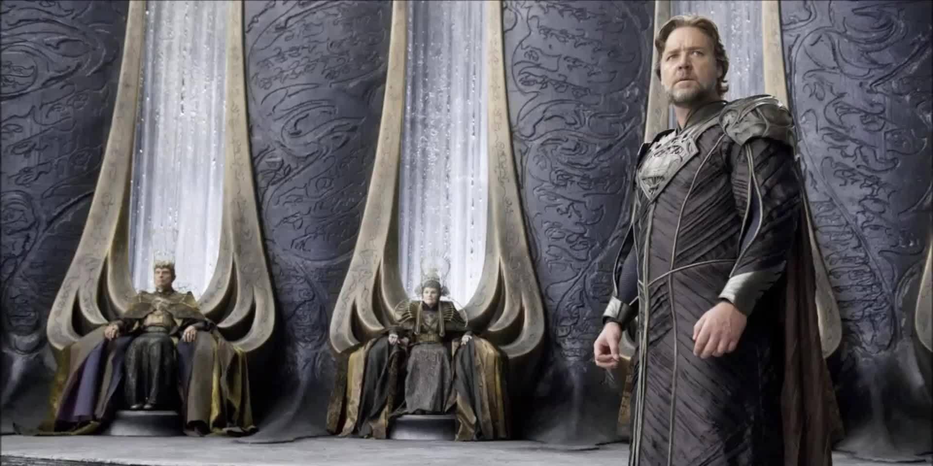"""Russell Crowe as Seg-El's son Jor-El in """"Man of Steel"""""""