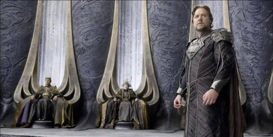 "Russell Crowe as Seg-El's son Jor-El in ""Man of Steel"""