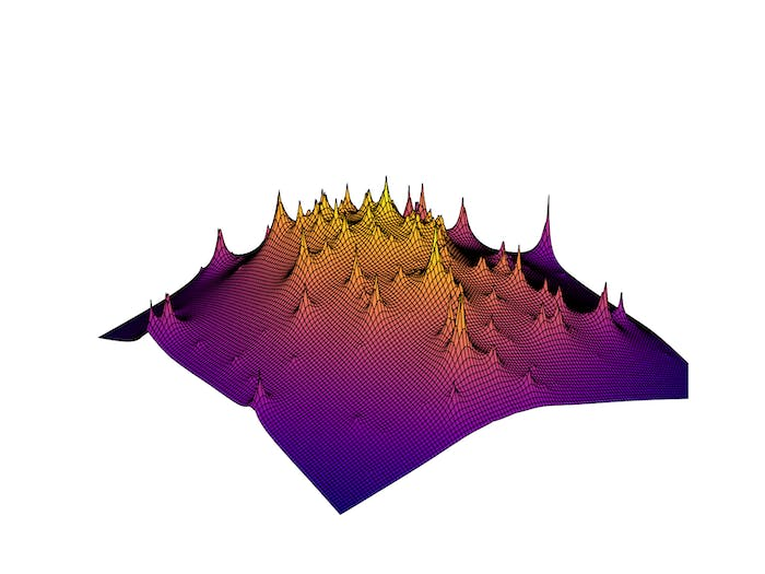 Using Hubble Space Telescope Frontier Fields data, Scientists created a 3D visualization of reconstructed dark matter clump distributions in a distant galaxy cluster. The peaks show how cold dark matter clumps together.