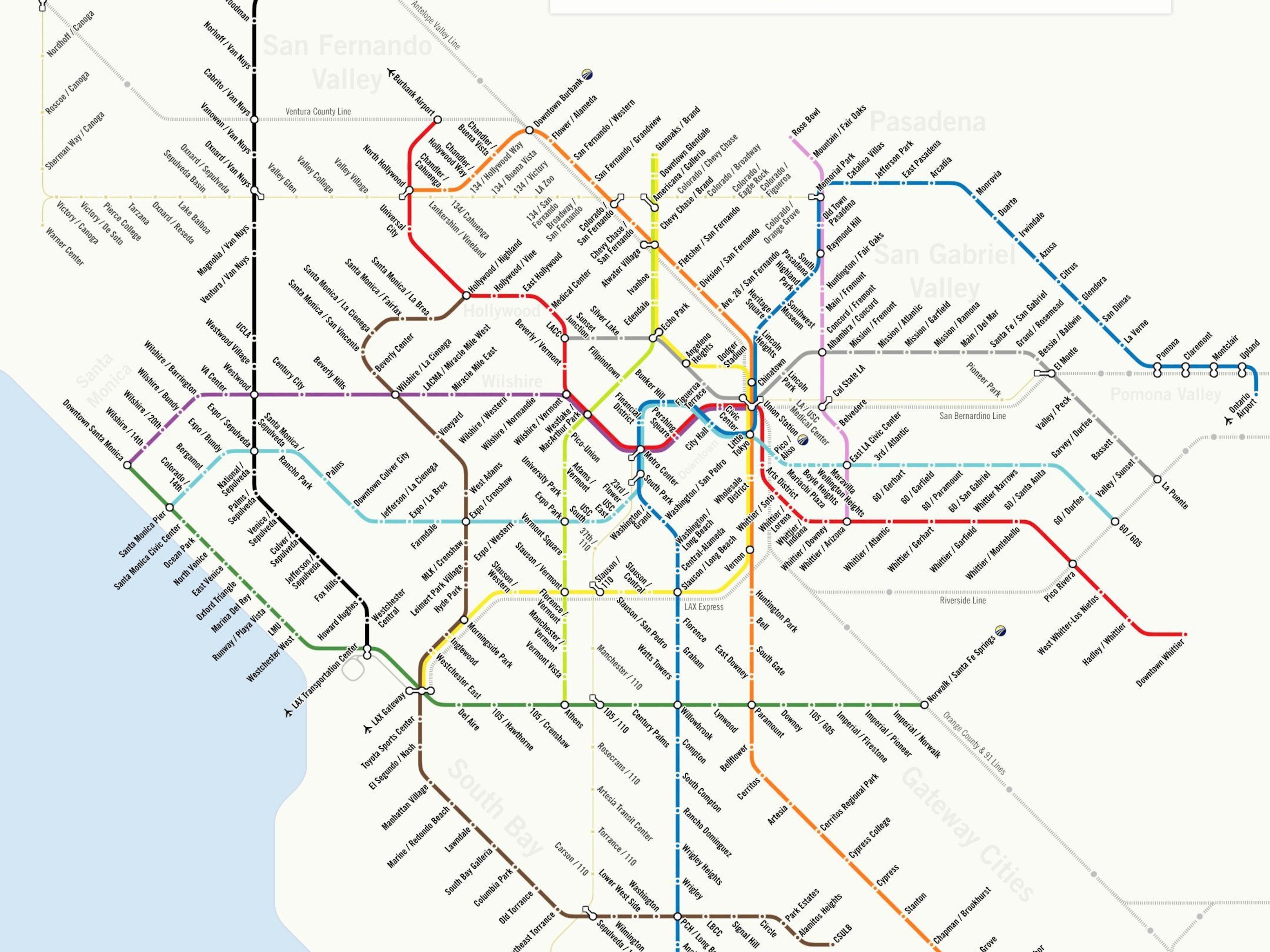 The 2024 Olympics Might Make L.A.'s Futuristic Metro Map Come True