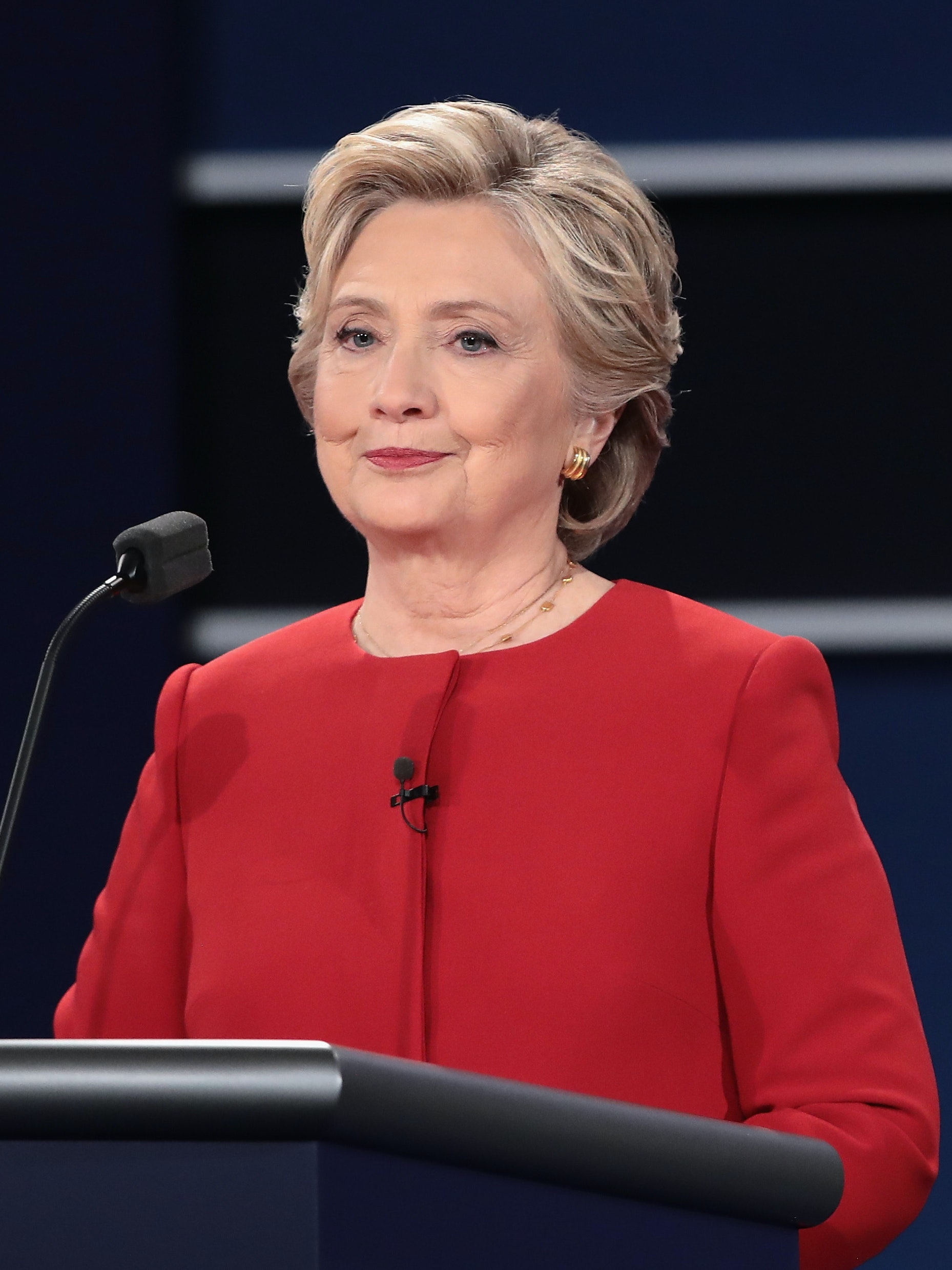 Democratic presidential nominee Hillary Clinton pauses during the Presidential Debate at Hofstra University on September 26, 2016 in Hempstead, New York. The first of four debates for the 2016 Election, three Presidential and one Vice Presidential, is moderated by NBC's Lester Holt.