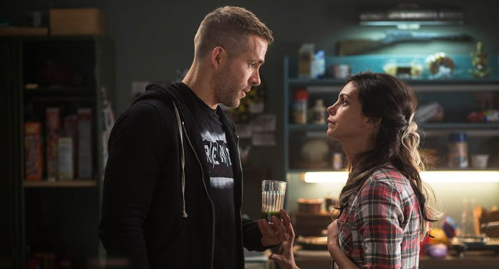 Ryan Reynolds (left) as Wade Wilson, a.k.a. Deadpool, and Morena Baccarin (right) as Vanessa, who is Copycat in the comic books.