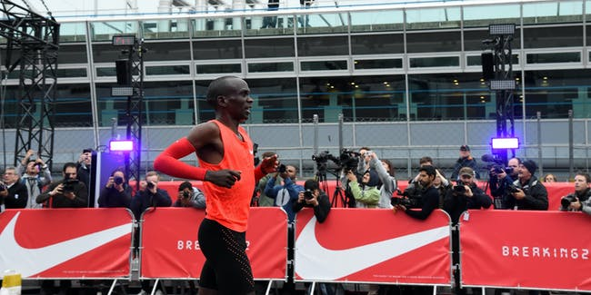 MONZA, ITALY - MAY 06:  Eliud Kipchoge reacts at the end of the Nike Breaking2: Sub-Two Marathon Attempt at Autodromo di Monza on May 6, 2017 in Monza, Italy.  (Photo by Pier Marco Tacca/Getty Images)