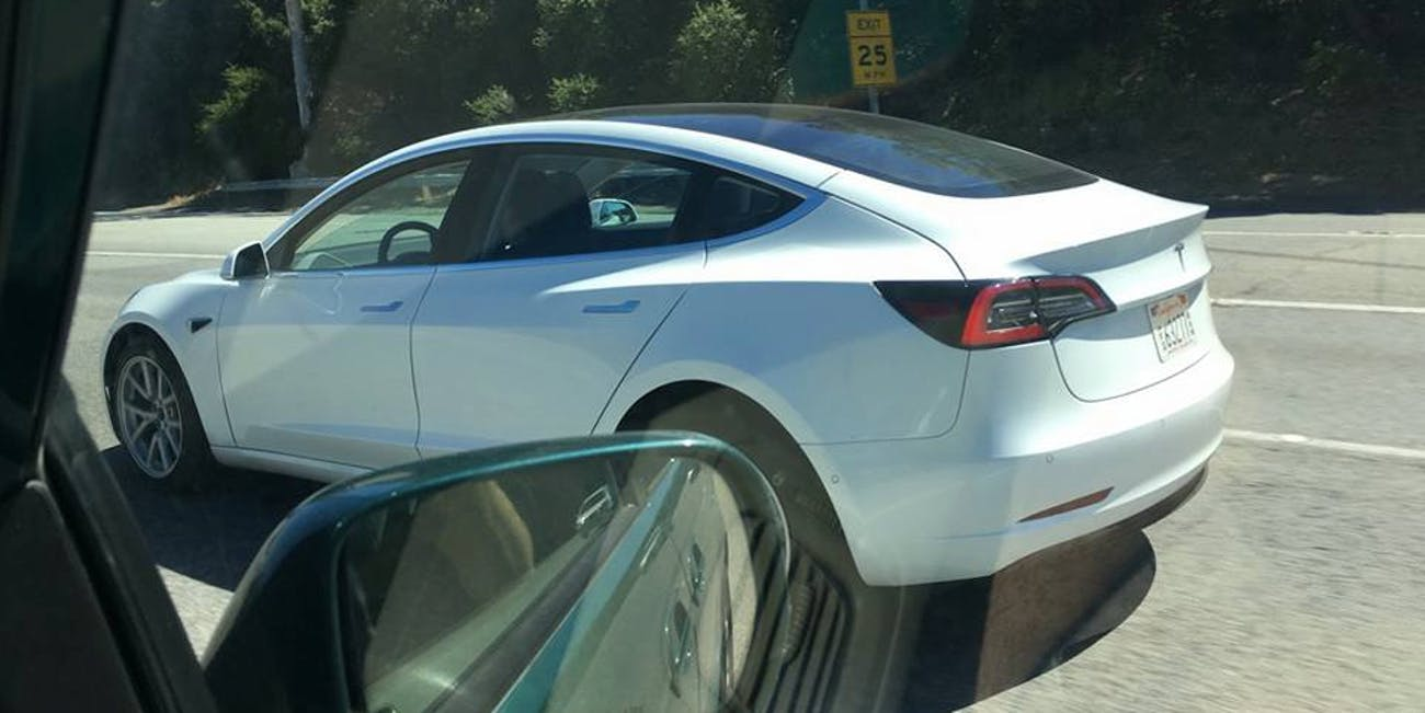 A Tesla Model 3 with an all-glass roof was spotted by an Imgur user near the company's headquarters in Hawthorne, California.