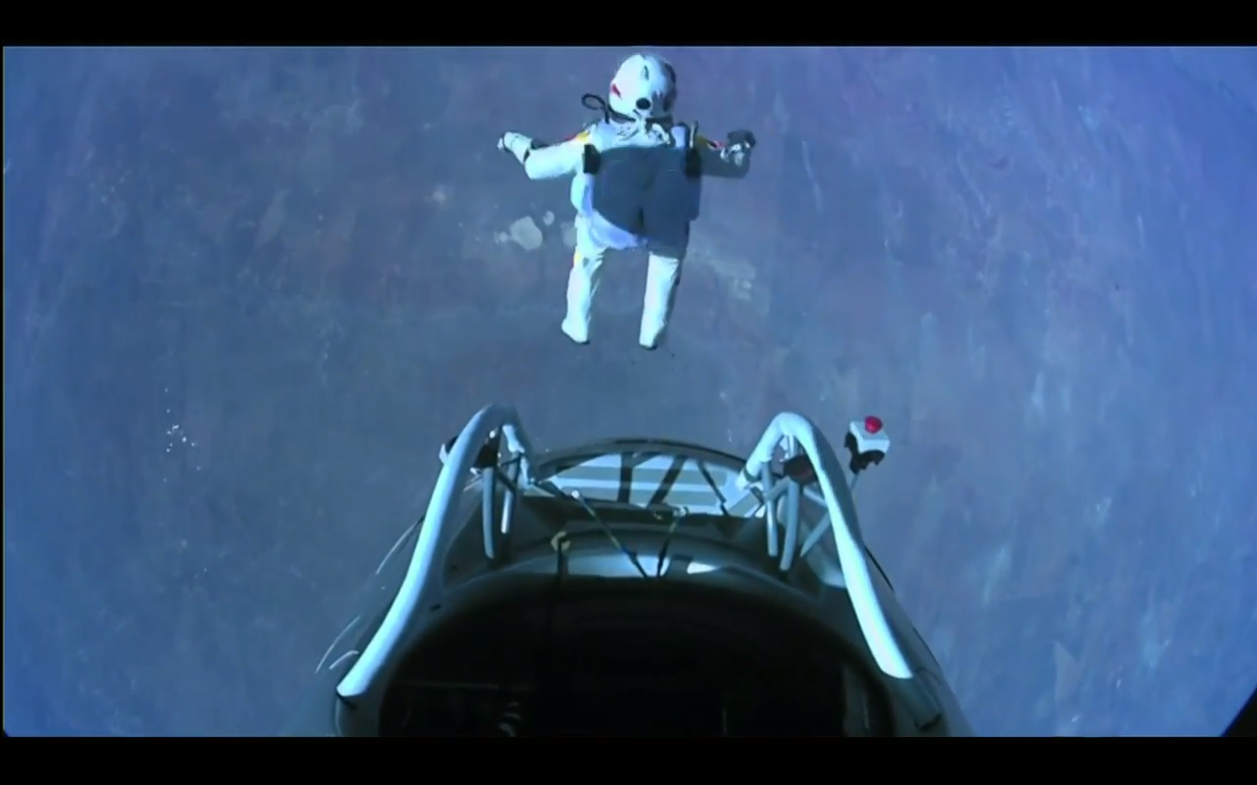 Felix Baumgartner jumping from 23 miles above the surface of the Earth.
