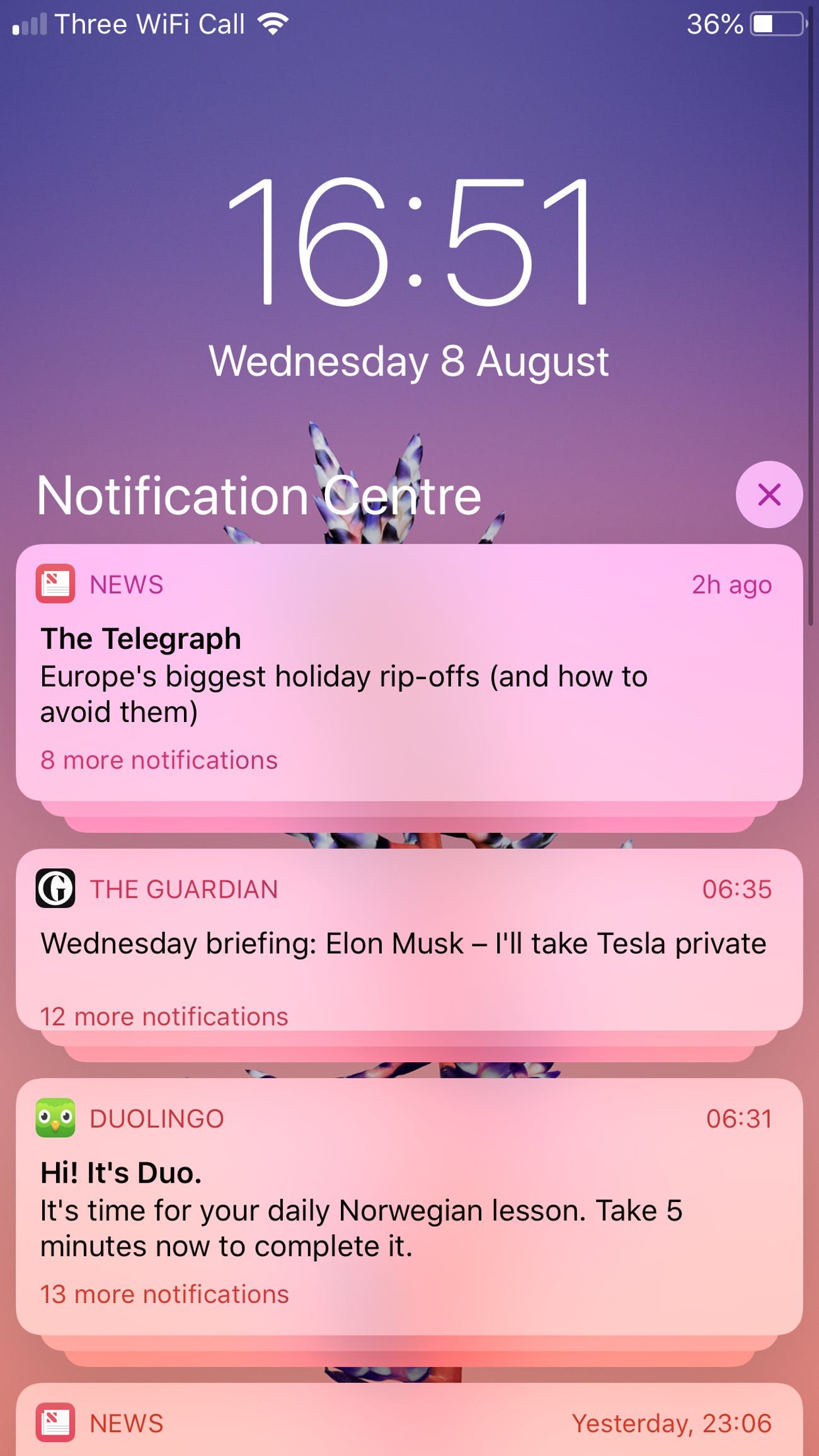 "The new ""grouped"" notifications in iOS 12."