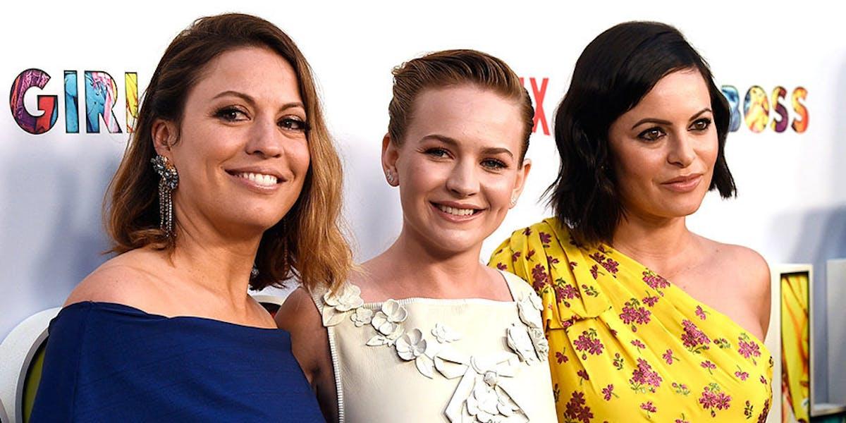 "Kay Cannon, Britt Robertson, and Sophia Amoruso at the ""Girlboss"" premiere this week."