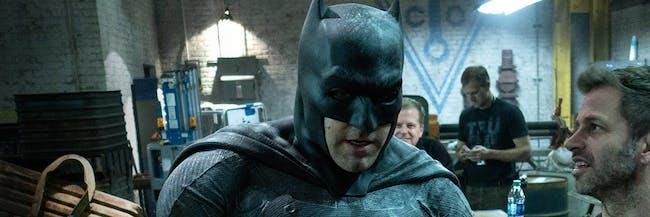 Ben Affleck as Batman and Zack Snyder on the set of 'Batman v Superman' for DC