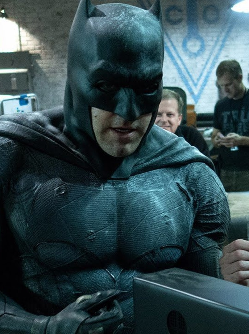 Ben Affleck as Batman and Zack Snyder on the set of 'Batman v Superman' for DC