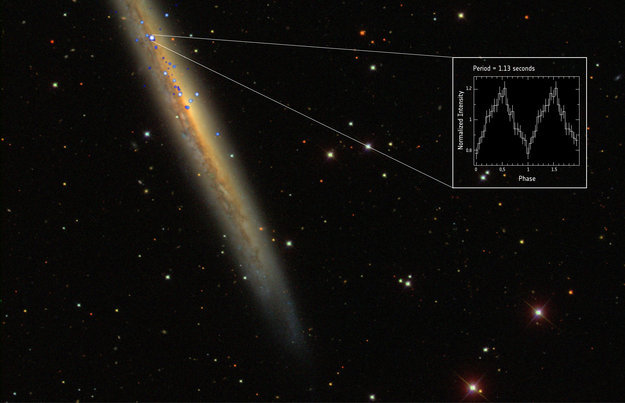 In this image, you can see X-1's luminosity relative to its galaxy NGC 5907.