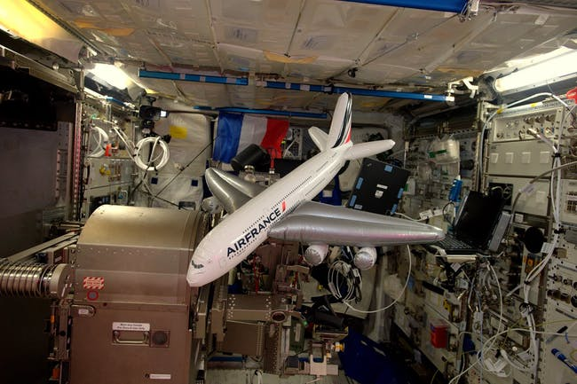 Pesquet snapped a photo of a present -- an inflatable Airbus A380 -- that was sent up on the latest cargo resupply ship.