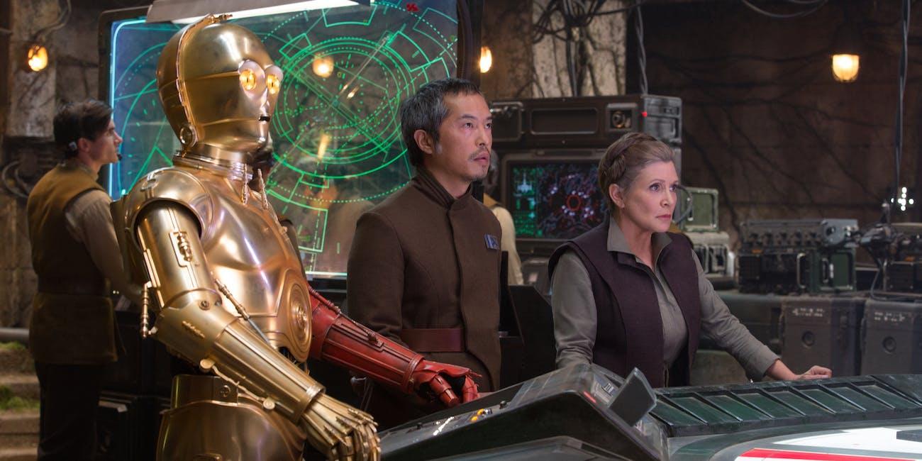 The Force Awakens C-3PO and Leia