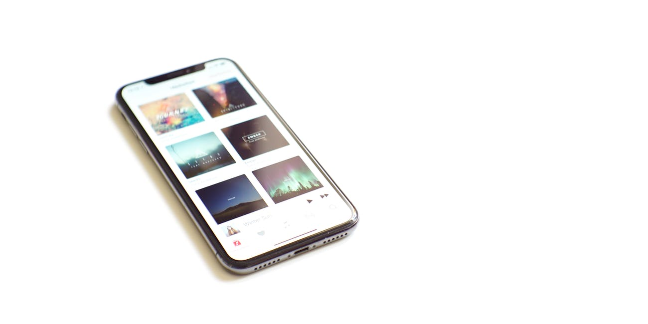 iPhone X on white background