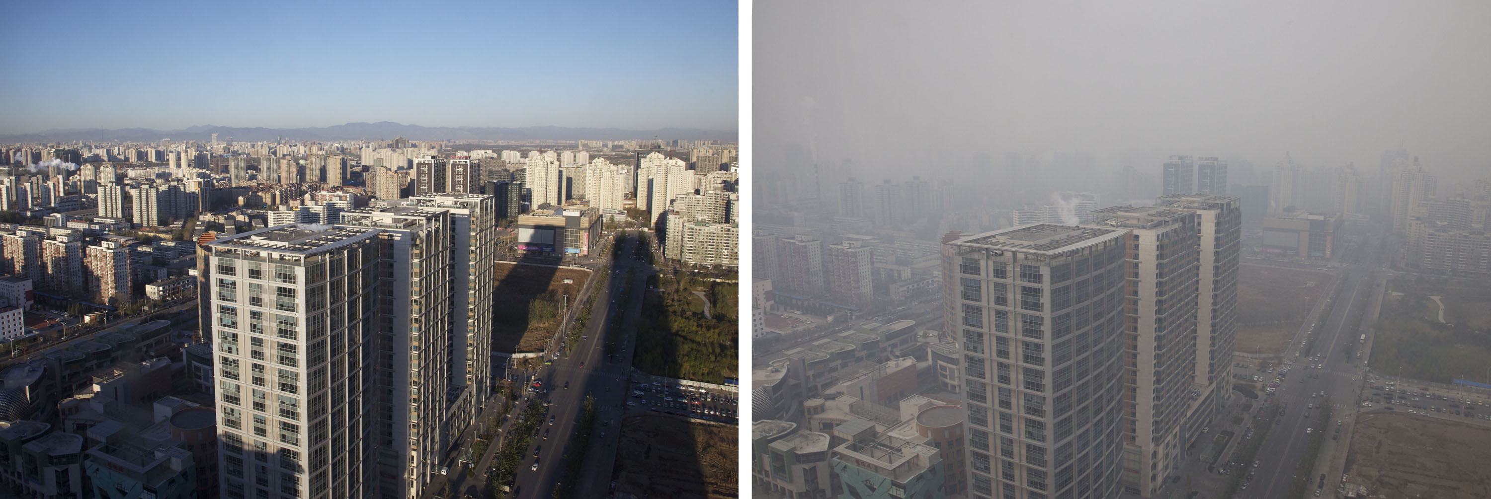 Clear day versus smog day in Beijing. Switching to electric would cut air pollution in the capital.