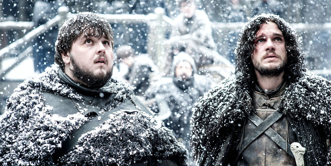 John Bradley and Kit Harington as Sam Tarly and Jon Snow in 'Game of Thrones'