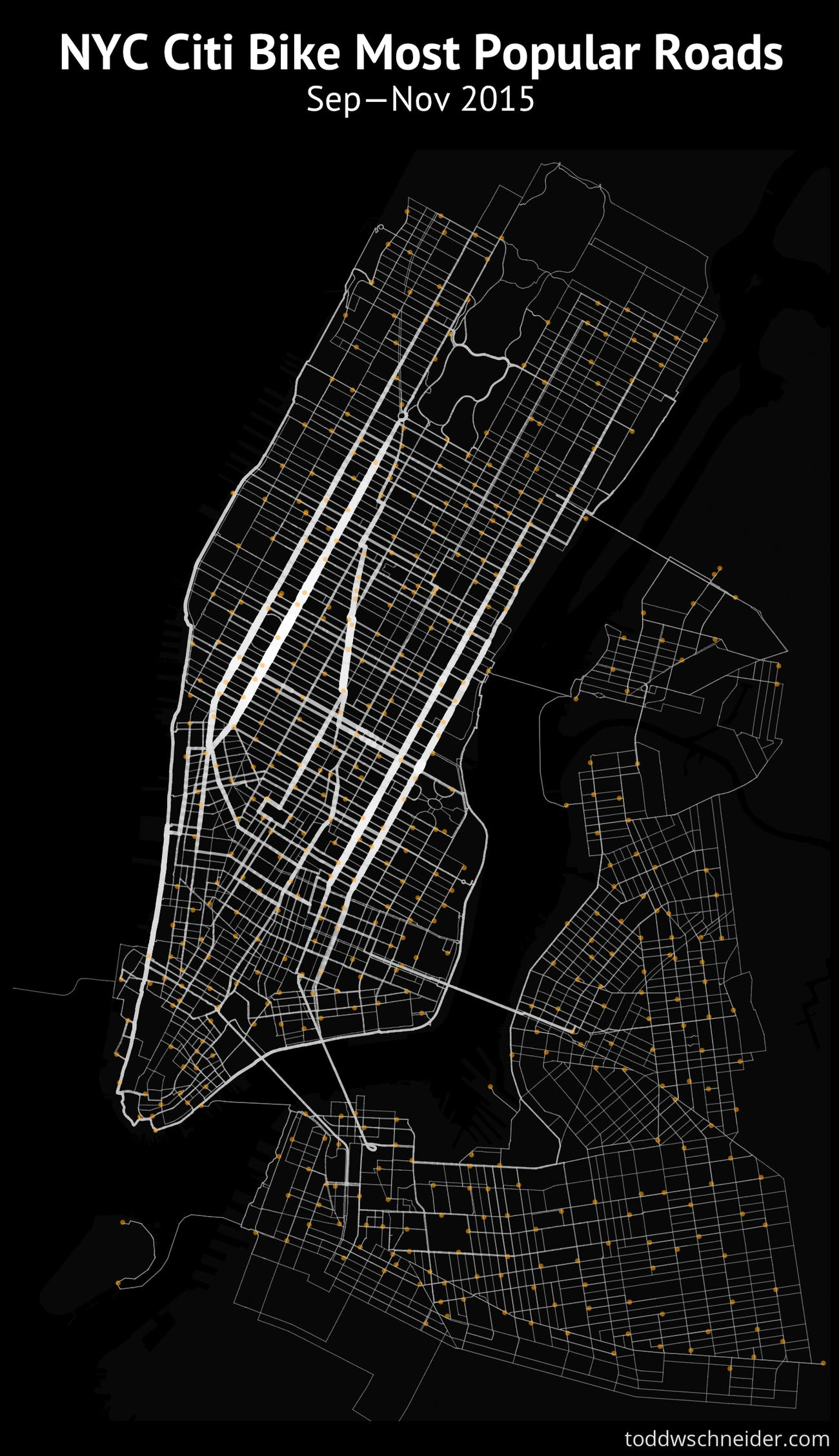 This Citi Bike Data Map Reveals the Ultimate NYC Cycle Routes | Inverse
