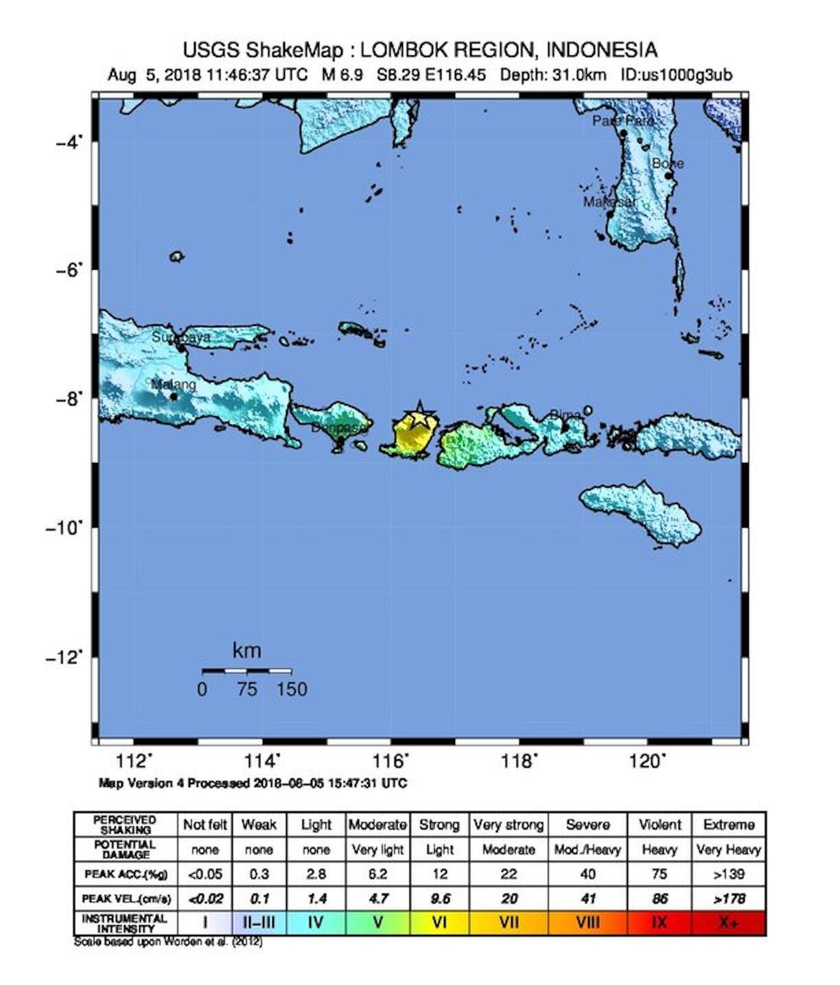 Shake map of Sunday's quake