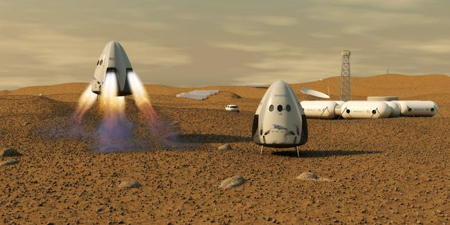 Artist's rendition of the SpaceX Dragon capsule on Mars.