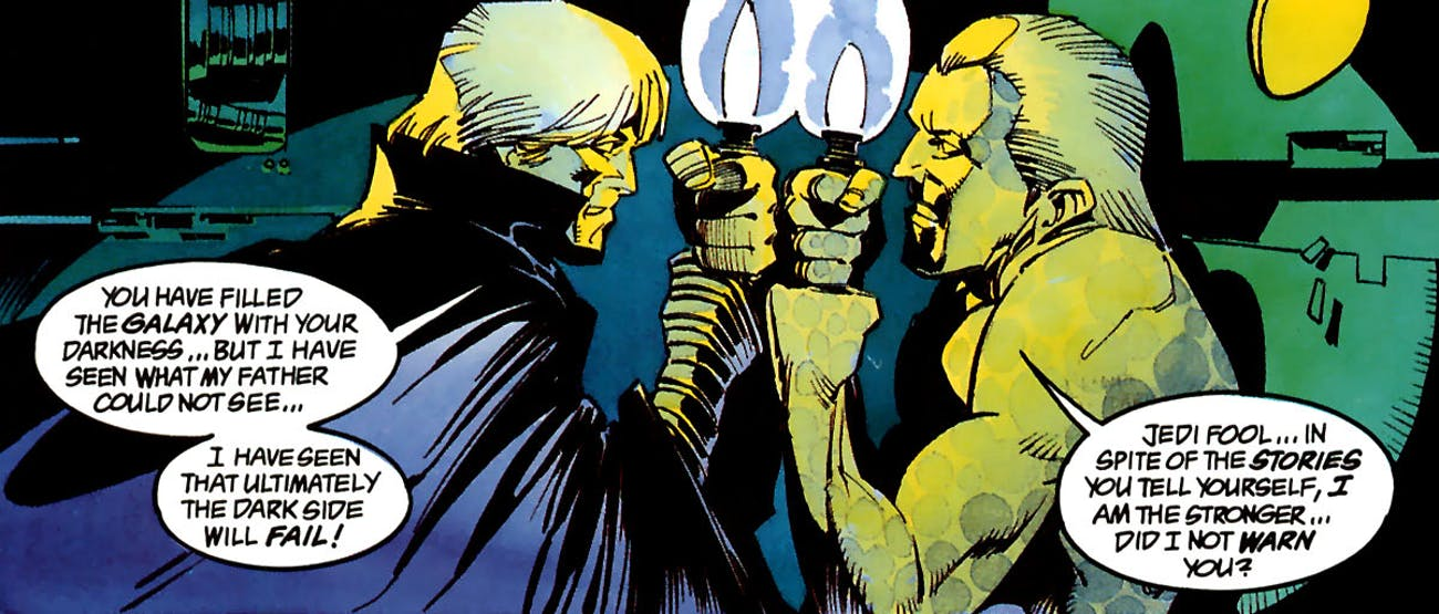 Luke fights clone Palpatine in 'Dark Empire' (1991) Art by: Cam Kennedy