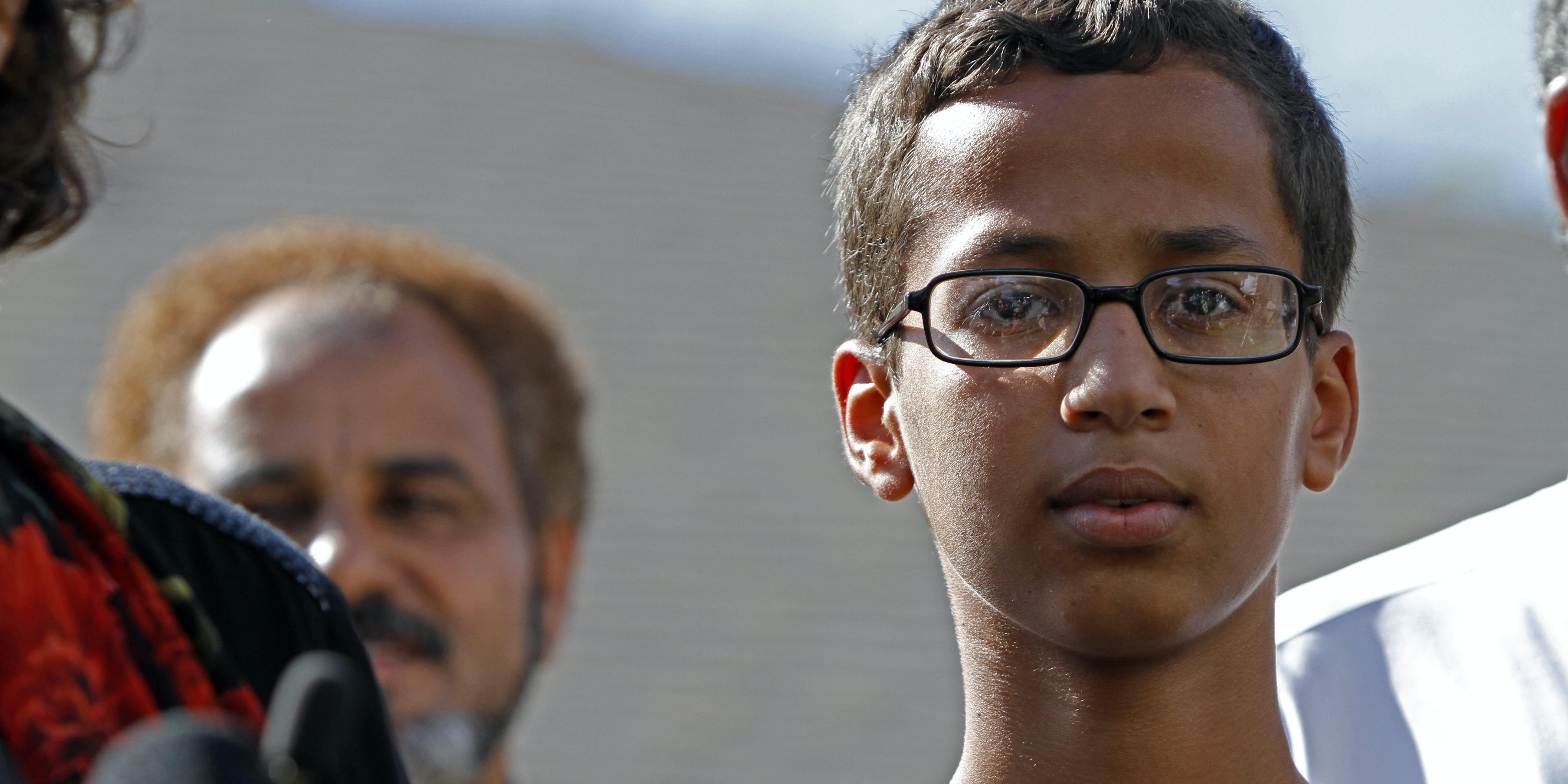 14-year-old Ahmed Ahmed Mohamed speaks during a news conference on September 16, 2015 in Irving, Texas. Mohammed was detained after a high school teacher falsely concluded that a homemade clock he brought to class might be a bomb. The news conference, held outside the Mohammed family home, was hosted by the North Texas Chapter of the Council on American-Islamic Relations.