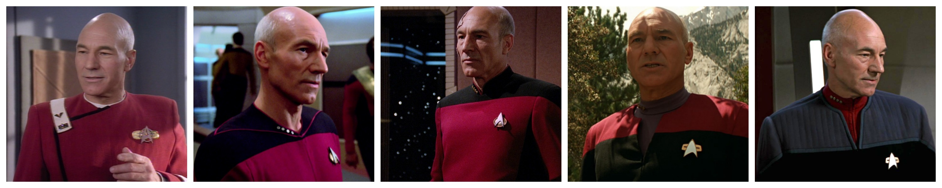 A sampling of uniforms Jean-Luc Picard wore in chronological order.