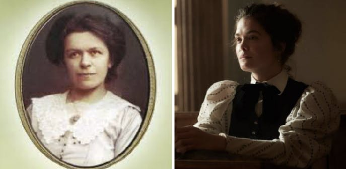 Left: a portrait of Marić. Right: her portrayal on 'Genius,' played by Samantha Colley