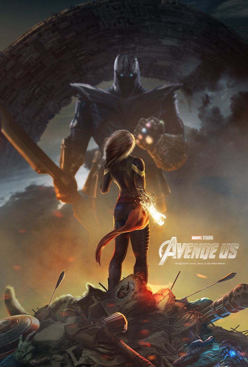 avengers 4' fan-poster pits captain marvel vs thanos in epic