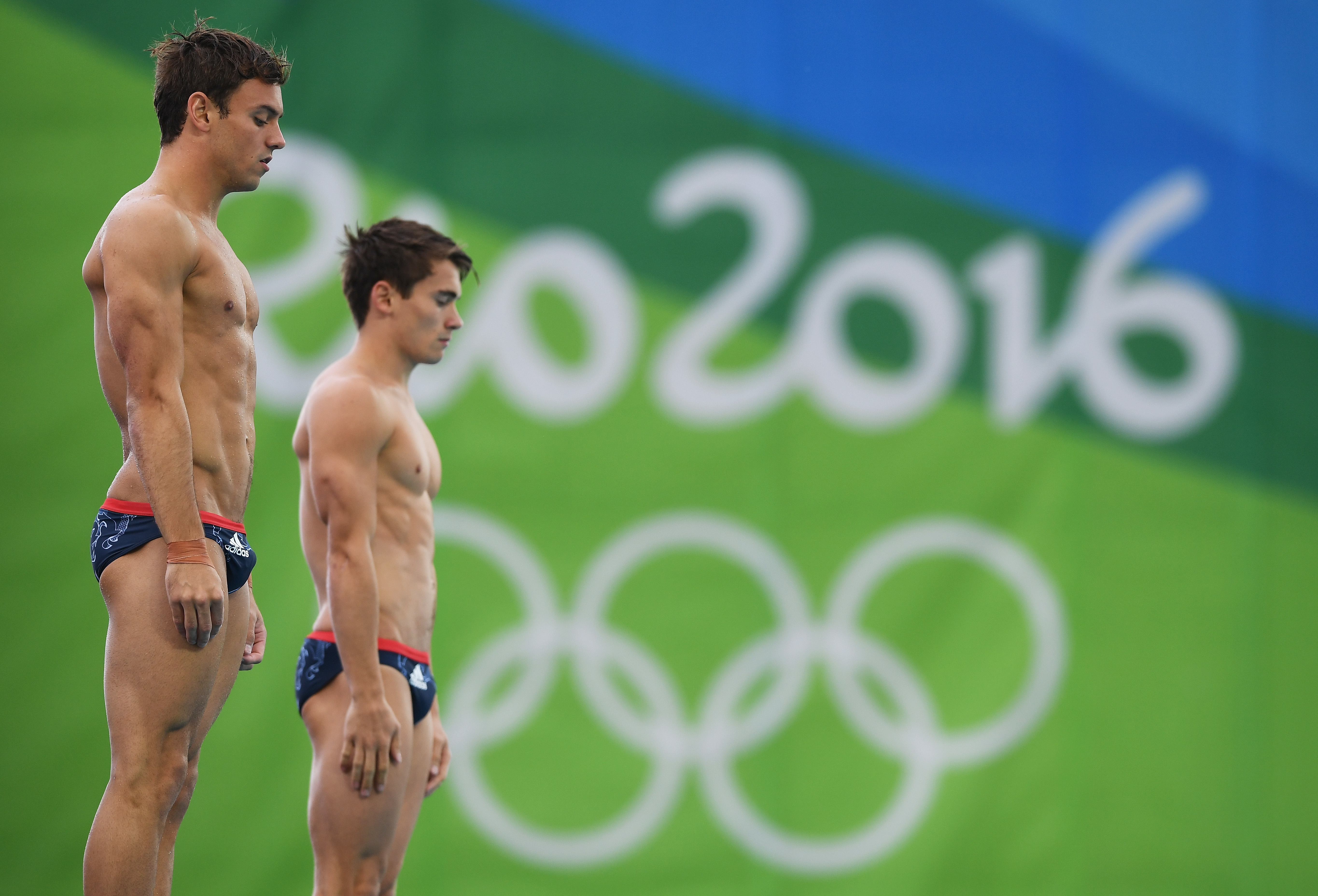 Daley and Goodfellow preparing to dive at the 2016 Rio Olympics