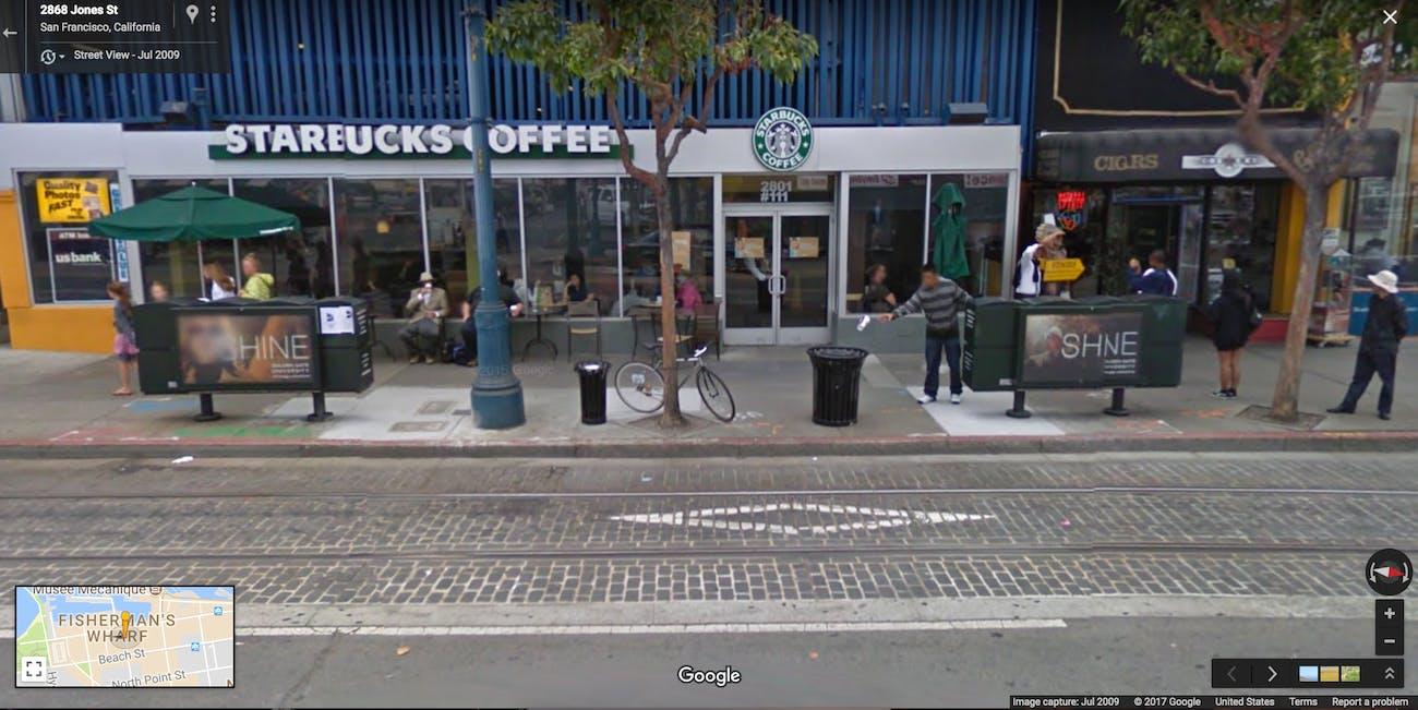 Google Street View garbage basketball weird images San Francisco
