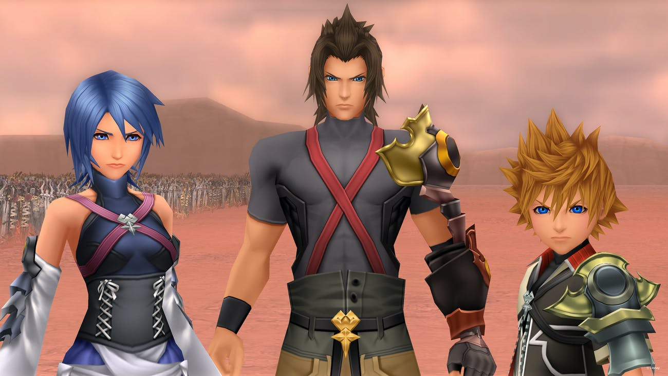 Aqua, Terra, and Ventus in 'Birth By Sleep'.