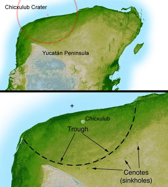The Chicxulub crater.