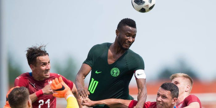 Nigeria plays in a World Cup warm-up match.