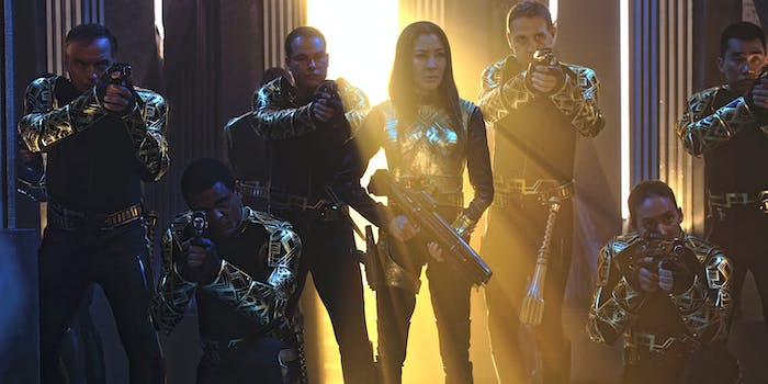 The Emperor (Michelle Yeoh) commands her troops in 'Star Trek: Discovery'