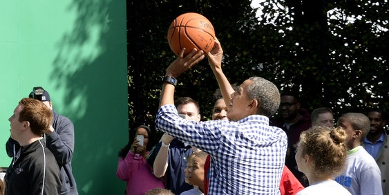WASHINGTON, DC - MARCH 28: President Barack Obama plays basketball during the annual White House Easter Egg Roll on the South Lawn of the White House March 28, 2016 in Washington, DC. The tradition dates back to 1878 when President Rutherford B. Hayes allowed children to roll eggs on the South Lawn. (Photo by Olivier Douliery-Pool/Getty Images)