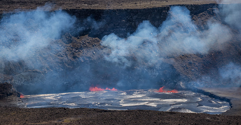 Halema'uma'u crater in Kīlauea is an active region of the volcano that spews forth lava.