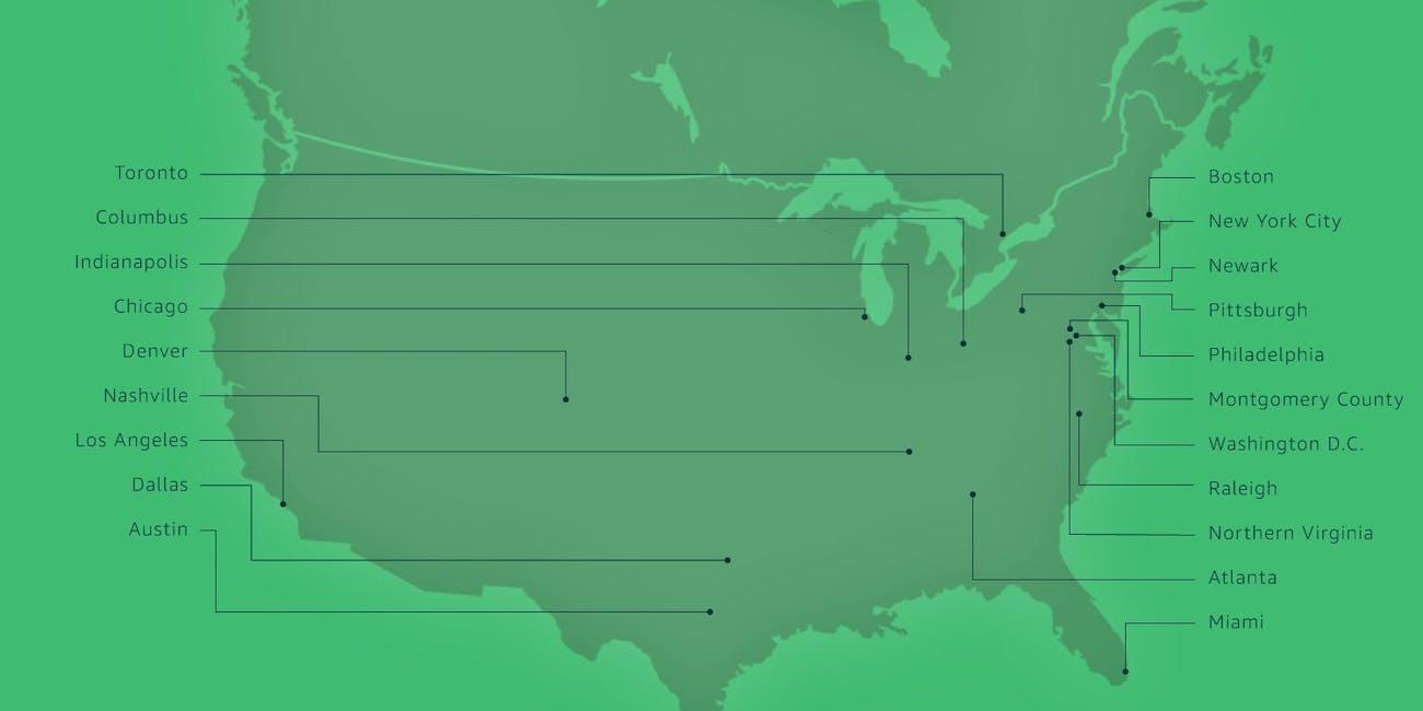 The twenty finalist cities for Amazon's HQ2.